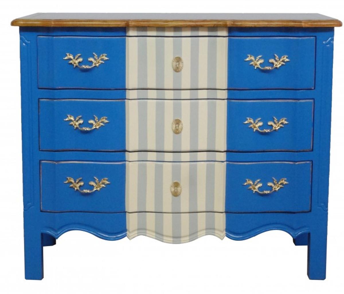 Casa Padrino Barock Kommode Blau / Weiß Grau / Holzfarben 105 cm 1