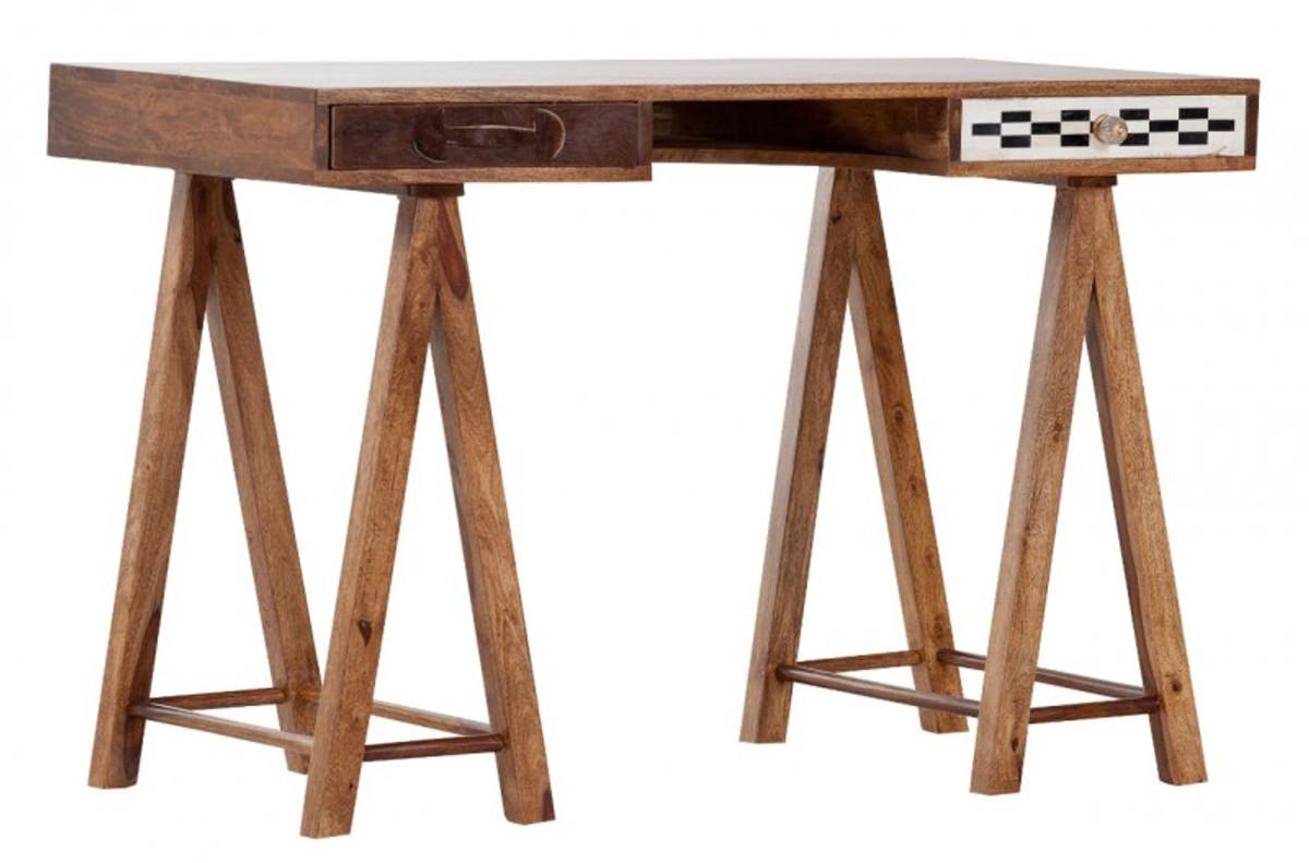 Casa Padrino Schreibtisch Sekretär Mangoholz Verziert Mit Fell Und Mosaik  120 Cm   Vintage Design