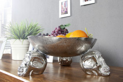 Designer fruit bowl Skull silver aluminum height 15 cm, diameter 35 cm - shell, fruit basket, decorative shell