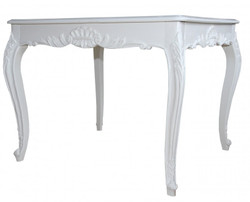 Casa Padrino Baroque dining table White 100 cm x 90 cm dining room table