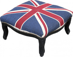 Casa Padrino Baroque XXL ottoman Mod3 Union Jack / Black - English Flag Stool - Antique style England