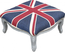 Casa Padrino Baroque XXL ottoman Mod3 Union Jack / Silver - English Flag Stool - Antique style England