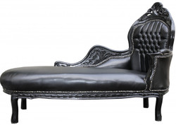 Casa Padrino Baroque chaise Mod2 Black / Black Lederoptik- Baroque Furniture