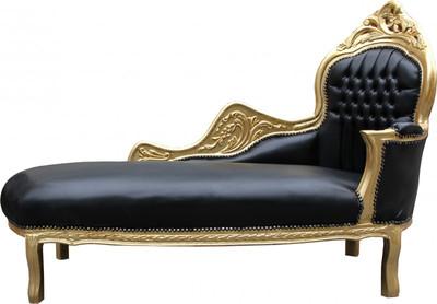 Casa Padrino Barock Chaiselongue Mod2 Schwarzgold Lederoptik