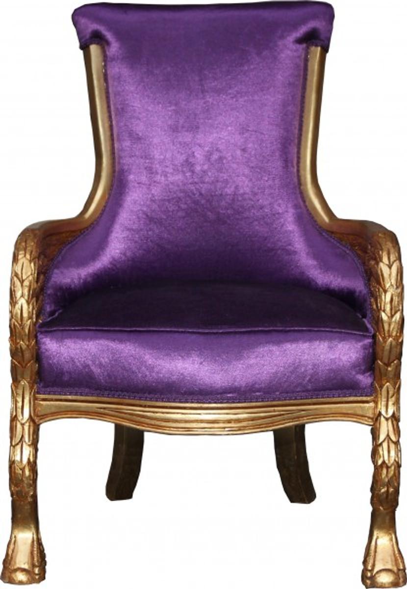 casa padrino barock lounge sessel lila gold mod2 m bel antik stil wohnzimmer club m bel. Black Bedroom Furniture Sets. Home Design Ideas