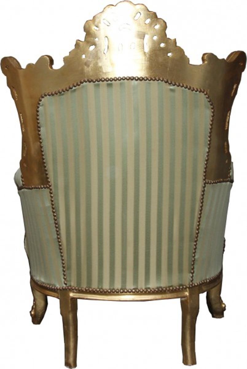 Casa Padrino Barock Sessel Al Capone Mod2 Jadegrün / Beige / Gold 85 x 65 x H. 127 cm - Möbel im Antik Stil 2