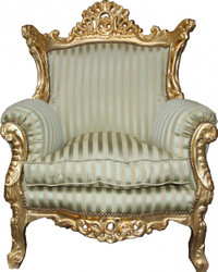 Casa Padrino baroque armchair Al Capone Mod2 jade green / beige / gold 85 x 65 x H. 127 cm - Antique Style Furniture