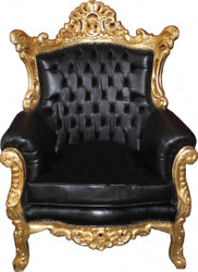 "Casa Padrino Baroque Armchair ""Al Capone"" Black leather look / gold mod2 - antique style"