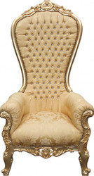Casa Padrino Baroque throne Mod2 Majestic Gold Pattern / Gold with Bling Bling Rhinestones - Giant armchair - throne chair