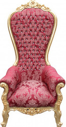 Casa Padrino Baroque throne Mod2 Majestic Bordeaux Pattern / Gold with Bling Bling Rhinestones - Giant armchair - throne chair