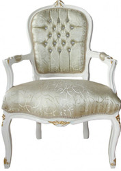 Casa Padrino Baroque Salon Chair Mod1 Cream / Gold with Bling Bling Rhinestones