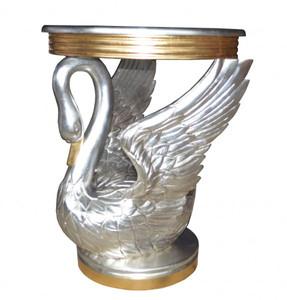 Casa Padrino Barock Beistelltisch Schwan Silber / Gold - Nachttisch Konsole - Nachtschrank - Tisch - Luxury Collection
