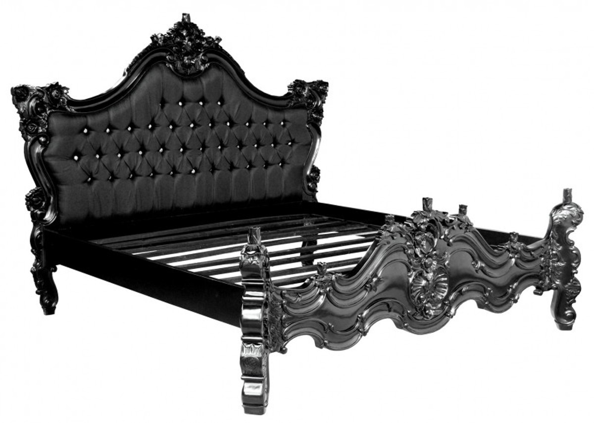 baroque bed barocco black satin fabric black with bling bling rhinestones 180 x 200 cm from. Black Bedroom Furniture Sets. Home Design Ideas
