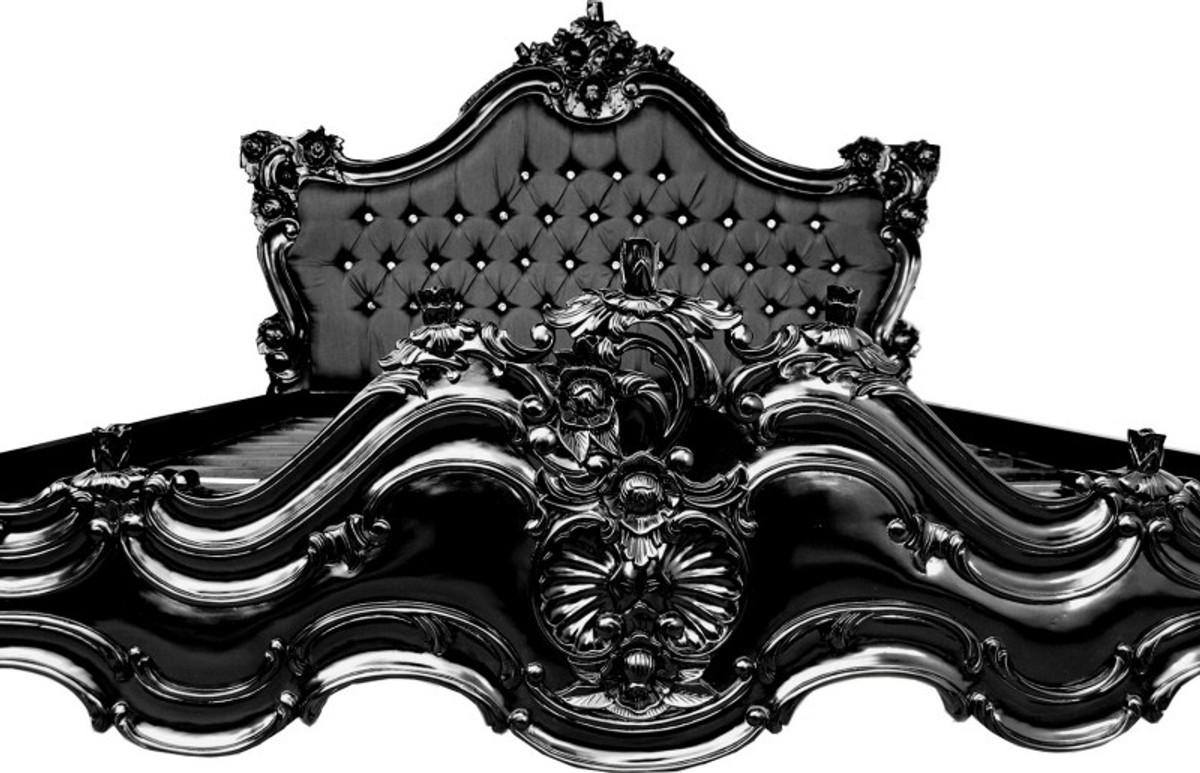 barock bett barocco schwarz satinstoff schwarz mit bling bling glitzersteinen 180 x 200 cm aus. Black Bedroom Furniture Sets. Home Design Ideas