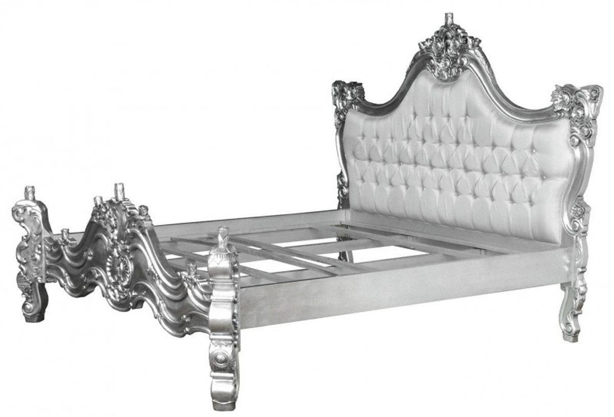 Baroque bed barocco white satin fabric silver with bling for Bett barock