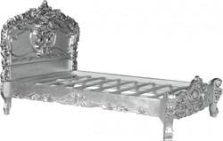 Barock Bett Pure Baroque Silber 160 x 200 cm aus der Luxus Kollektion von Casa Padrino