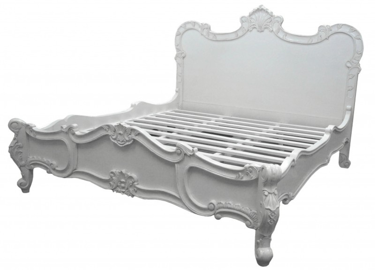 baroque florence white bed 180 x 200 cm from the luxury collection of casa padrino casa padrino. Black Bedroom Furniture Sets. Home Design Ideas