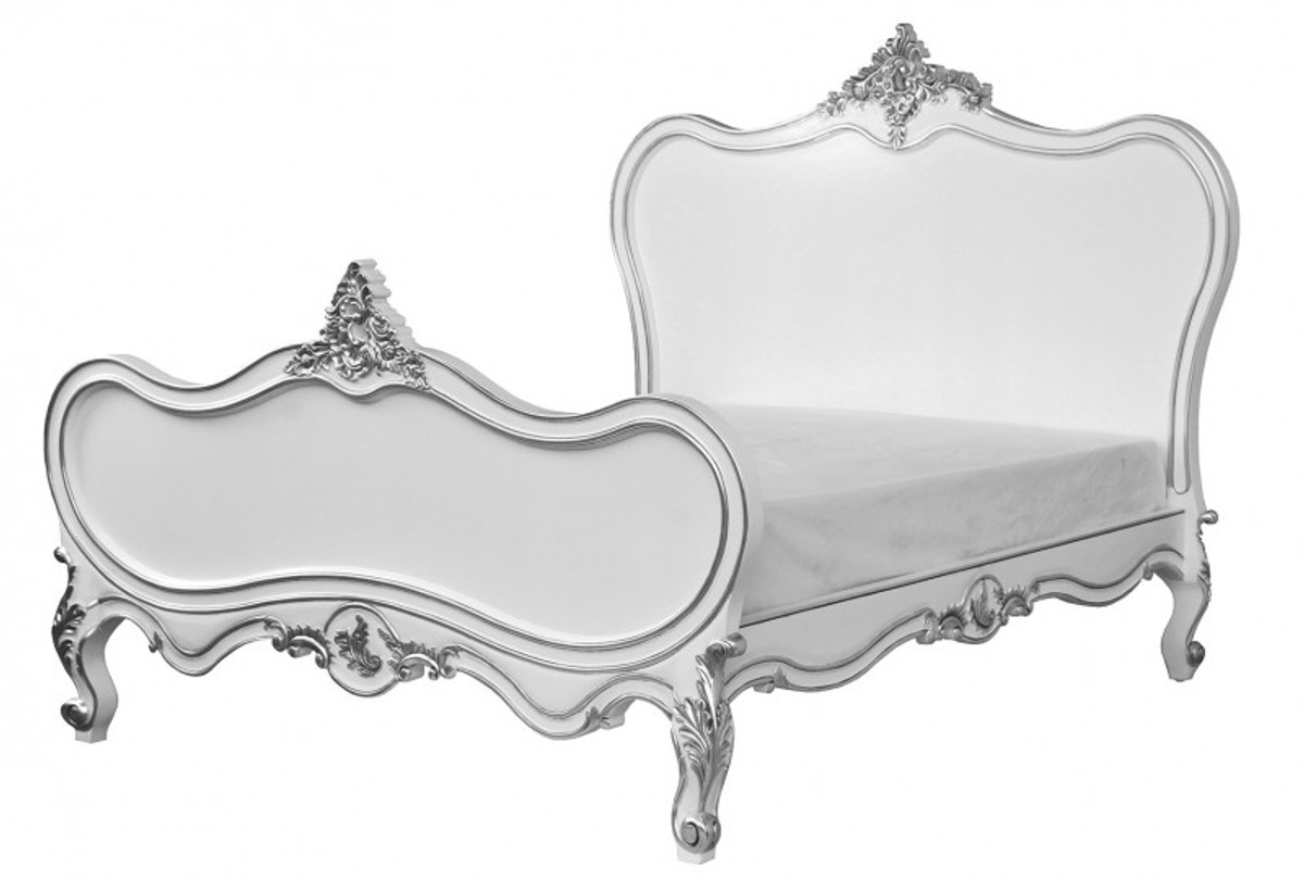baroque bed maison paris white silver 180 x 200 cm from. Black Bedroom Furniture Sets. Home Design Ideas