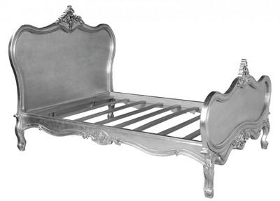 Barock Bett Maison Paris Silber 180 x 200 cm aus der Luxus Kollektion von Casa Padrino – Bild