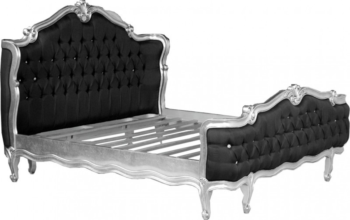 baroque bed st tropez black silver bling bling. Black Bedroom Furniture Sets. Home Design Ideas