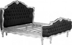 Baroque bed St. Tropez Black / Silver Bling Bling Rhinestones 180 x 200 cm from the luxury collection of Casa Padrino