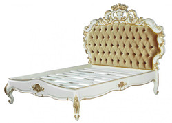 Venice Baroque bed Superior White / Gold Velvet 180 x 200 cm from the luxury collection of Casa Padrino