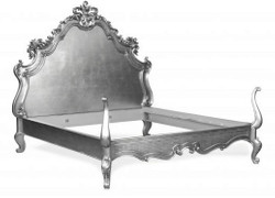 Baroque bed Lusso Superior Silver 180 x 200 cm from the luxury collection of Casa Padrino
