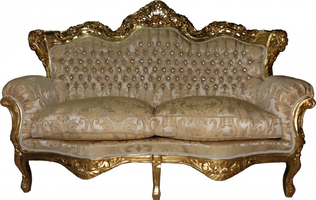 casa padrino barock 2 er sofa master creme barock muster gold mit bling bling glitzersteinen. Black Bedroom Furniture Sets. Home Design Ideas