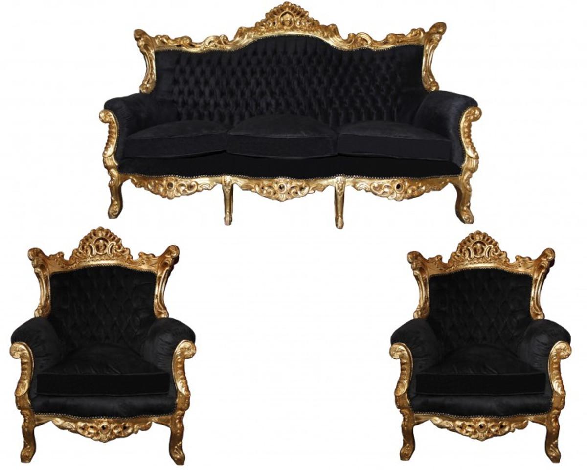 casa padrino barock wohnzimmer set master schwarz gold mod2 3 er sofa 2 sessel sofa sets. Black Bedroom Furniture Sets. Home Design Ideas