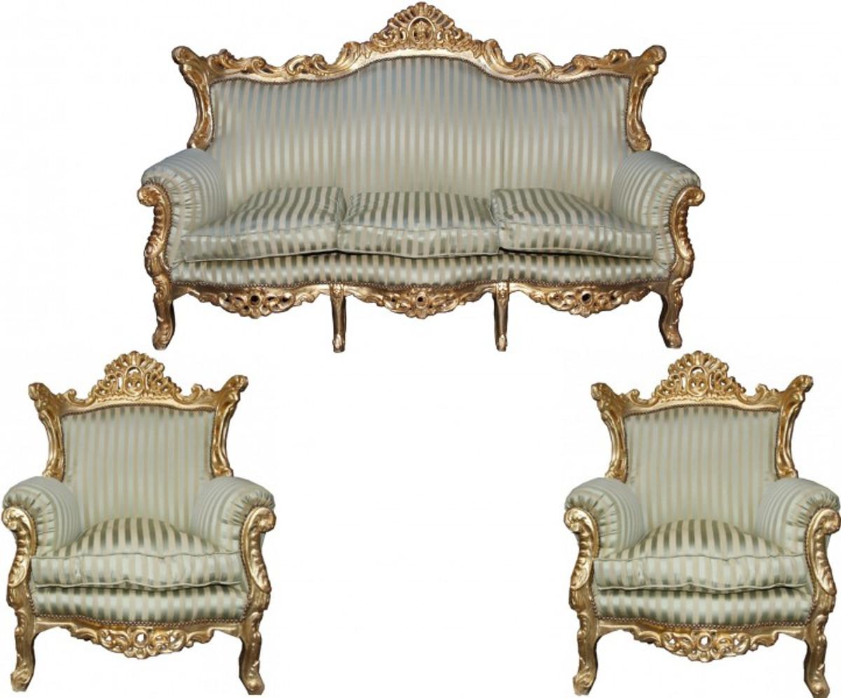 casa padrino barock wohnzimmer set master jadegr n beige gold mod2 3 er sofa 2 sessel. Black Bedroom Furniture Sets. Home Design Ideas
