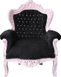 "Casa Padrino Baroque Armchair ""King"" Black / Pink with Bling Bling Rhinestones"