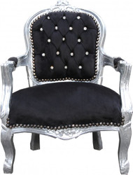 Casa Padrino Baroque Highchair Black / Silver Bling Bling Rhinestones - Children's Furniture