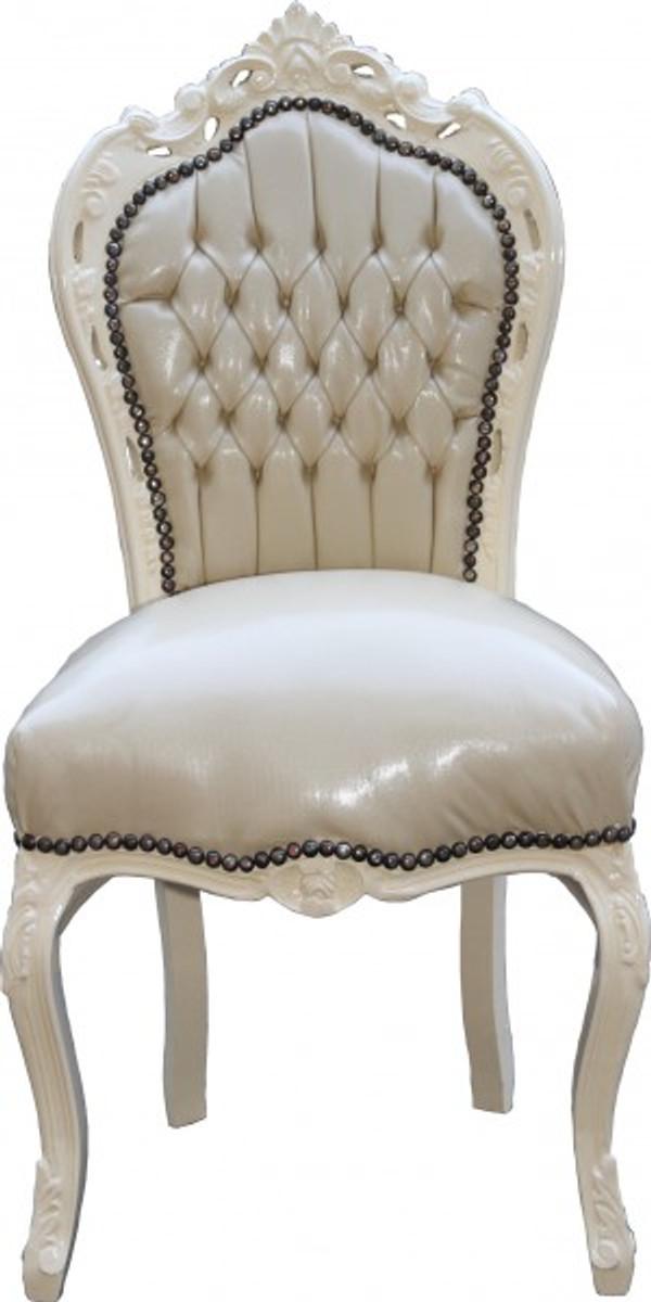casa padrino barock esszimmer stuhl creme creme lederoptik m bel antik stil st hle barock. Black Bedroom Furniture Sets. Home Design Ideas