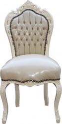 Casa Padrino Baroque Dinner Chair Cream / Cream Leather Look - antique style furniture