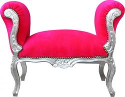 Casa Padrino Barock Schemel Hocker Pink / Silber - Sitzbank