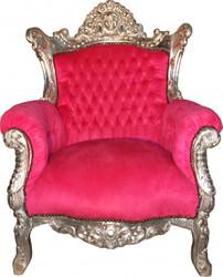 """Casa Padrino Baroque Armchair """"Al Capone"""" Pink / Silver"""