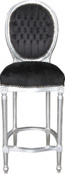 Casa Padrino Baroque Bar Chair Black / Silver - high chair bar chair bar stool - Club Furniture