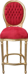 Casa Padrino Baroque Bar Chair Bordeaux Red / Gold - high chair bar chair bar stool - Club Furniture
