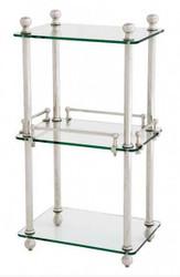 Casa Padrino Badezimmer Luxus Regalschrank vernickelt - Glasregal Badregal Regal Schrank Glas