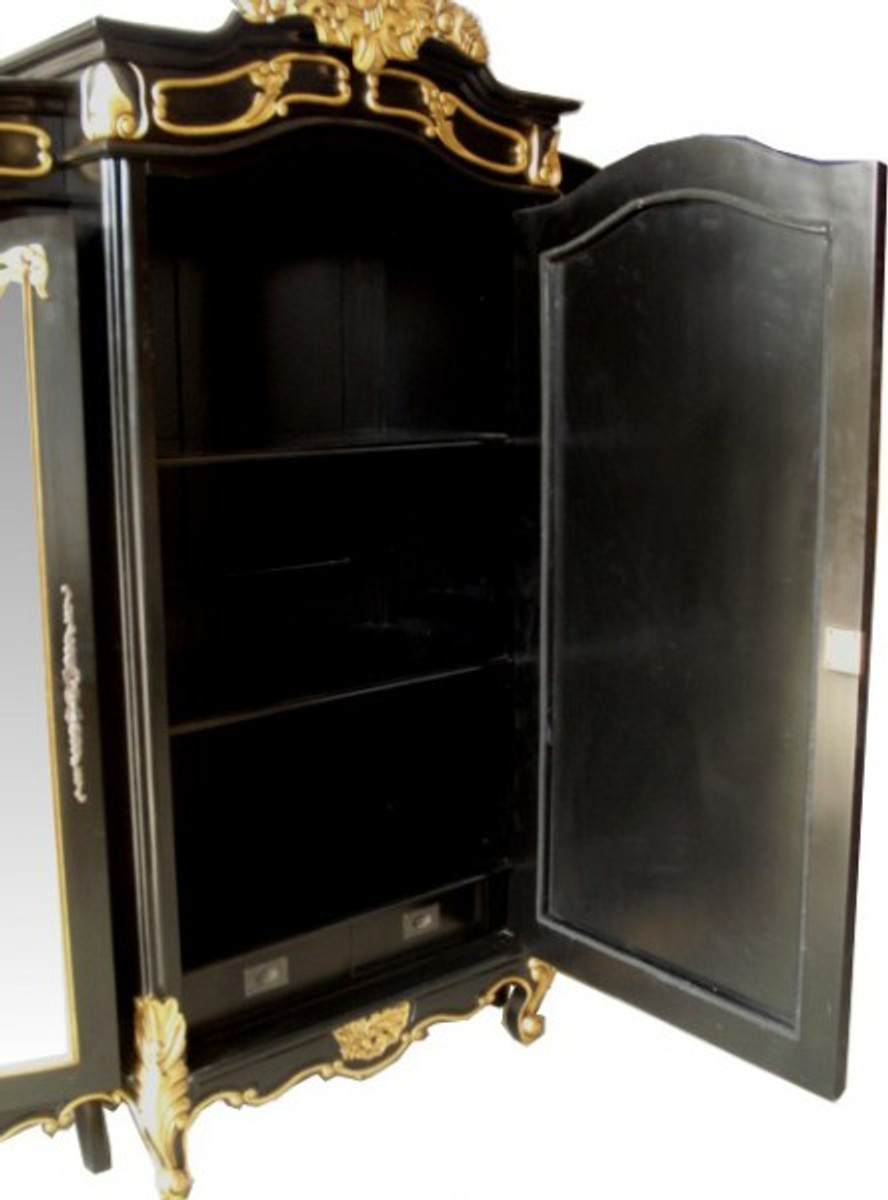 casa padrino barock luxus kleiderschrank schwarz gold b. Black Bedroom Furniture Sets. Home Design Ideas