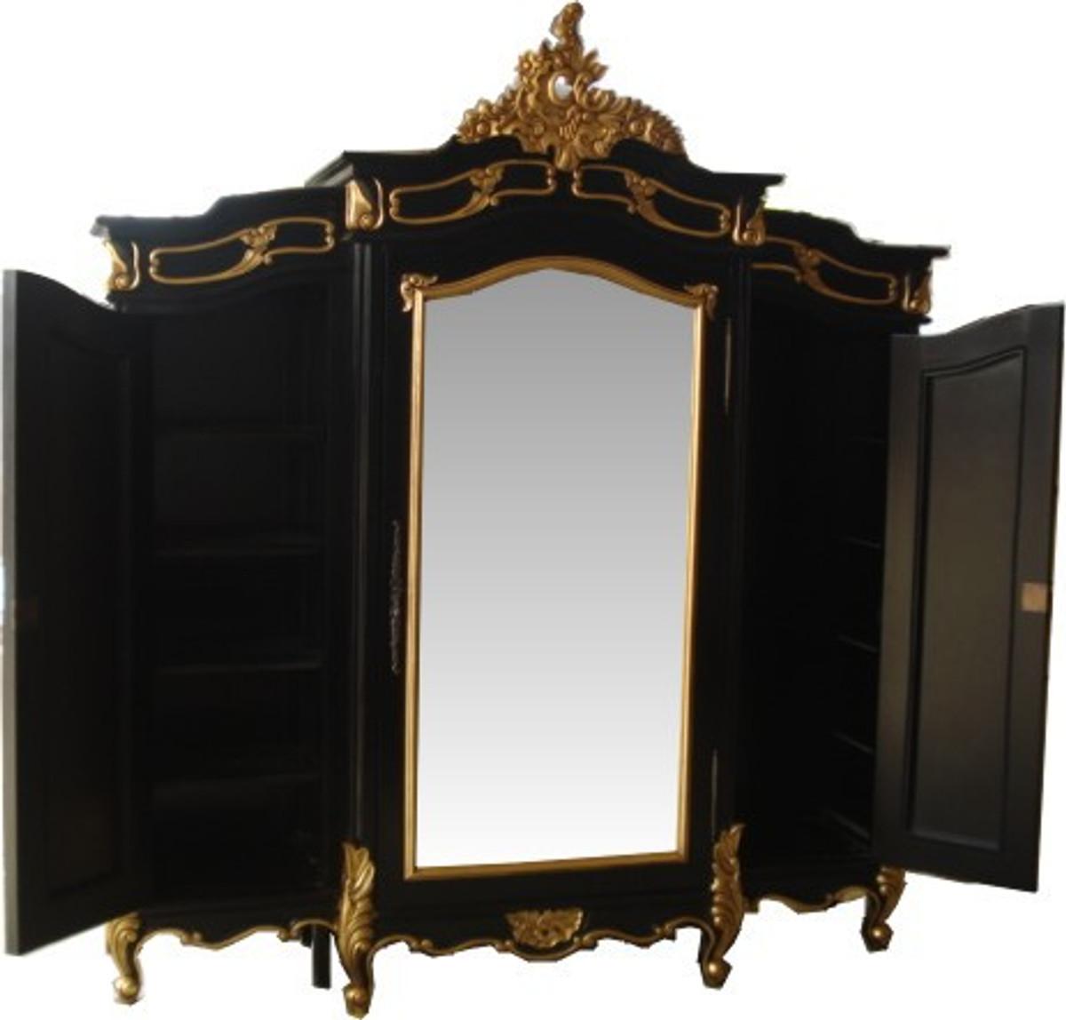 Casa Padrino Barock Luxus Kleiderschrank Schwarz Gold B 200 X H
