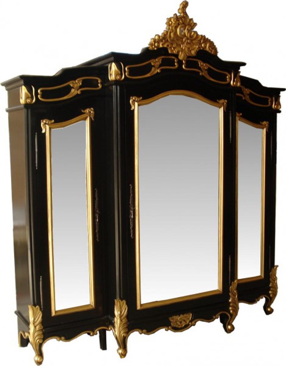 Casa Padrino Barock Luxus Kleiderschrank Schwarz / Gold B 200 x H ...