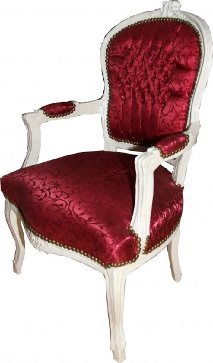casa padrino barock salon stuhl bordeaux rot muster antik weiss st hle m bel st hle barock. Black Bedroom Furniture Sets. Home Design Ideas