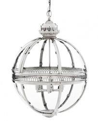 Casa Padrino baroque pendant lamp silver plated ball diameter 60 cm, height 88 cm - Baroque castle lamp lantern light