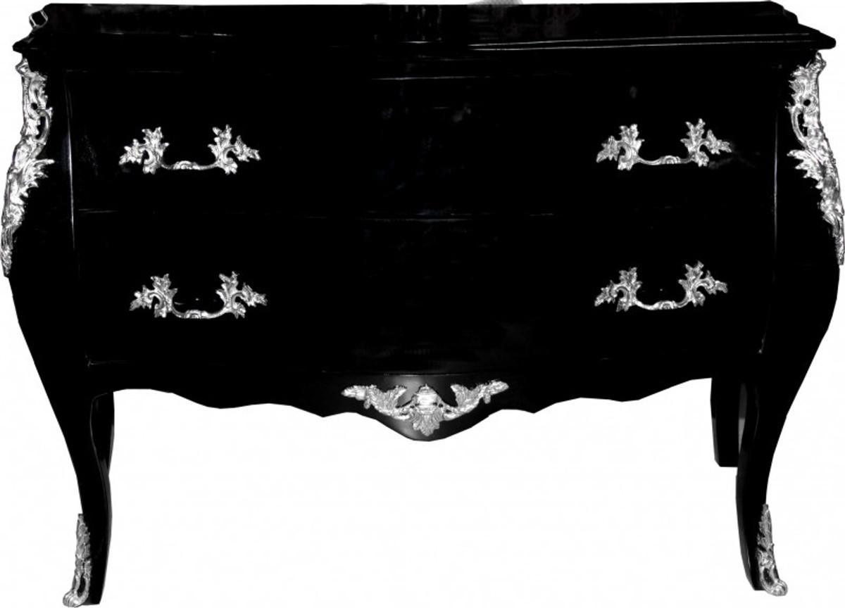 casa padrino barock kommode schwarz 120 cm mit silbernen metallapplikationen kommoden barock. Black Bedroom Furniture Sets. Home Design Ideas