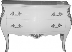 Casa Padrino Baroque chest White 120 cm with silver metal applications