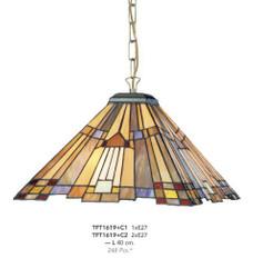 Casa Padrino Tiffany Hängeleuchte Durchmesser 40cm 1-Flammig ModH1 - Leuchte Lampe Deckenleuchte