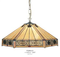 Casa Padrino Tiffany Hängeleuchte Durchmesser 40cm 1-Flammig ModH4 - Leuchte Lampe Deckenleuchte Art Deco Jugendstil