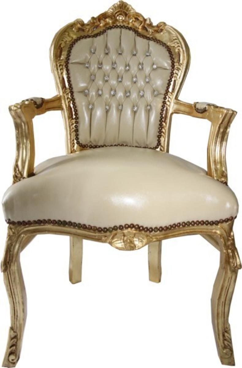casa padrino barock esszimmer stuhl mit armlehnen creme. Black Bedroom Furniture Sets. Home Design Ideas