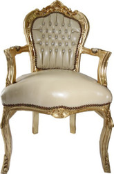 Casa Padrino Baroque Dinner Chair Creme leather look / Gold with armrests - Furniture